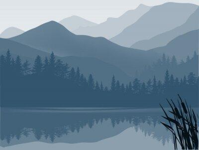 Quadro lago azul e cinza na floresta da montanha