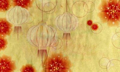 Quadro Lanterna de papel com flores