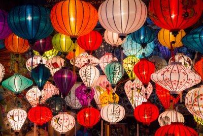 Quadro Lanternas de papel nas ruas da antiga cidade asiática