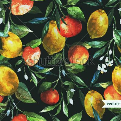 Quadro laranja, limão, aquarela, fundo, escuro, padrão