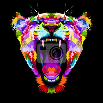 Quadro Leões coloridos com raiva no estilo pop art
