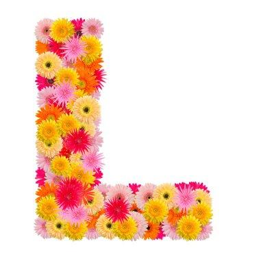 Quadro Letra L alfabeto com gerbera isolado no fundo branco