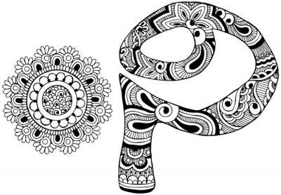 Quadro Letra P decorado no estilo de mehndi
