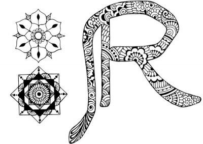 Quadro Letra R decorado no estilo de mehndi