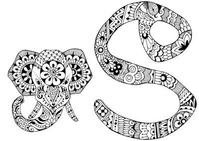Quadro Letra S decorado no estilo de mehndi