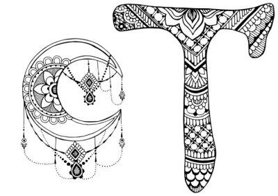 Quadro Letra T decorado no estilo de mehndi