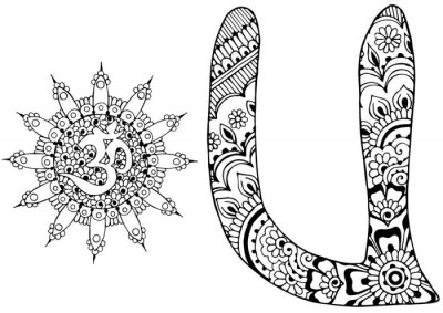 Quadro Letra U decorado no estilo de mehndi