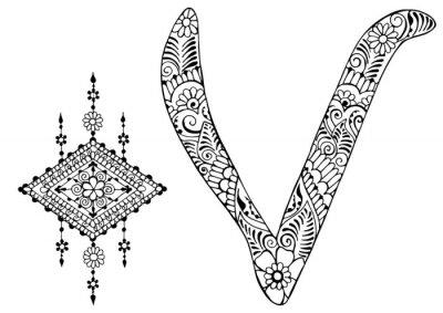Quadro Letra V decorado no estilo de mehndi