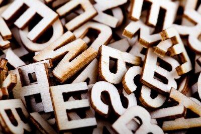 Quadro Letras de madeira misturadas fechar-se