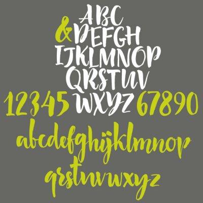 Quadro Letras do alfabeto: minúsculas, maiúsculas e números.