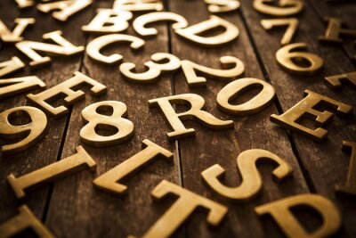 Quadro Letras douradas