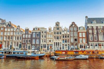 Quadro Linda vista para canais de Amesterdão, com ponte e típico holandês