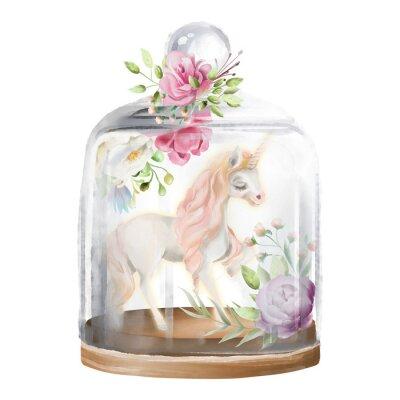 Quadro Lindo, unicórnio, cavalo mágico e flores em um pote de vidro. Ilustração de aquarela de fantasia isolada no branco