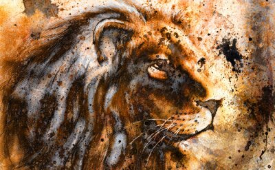 Quadro lion collage on color abstract  background,  rust structure,