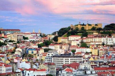 Quadro Lisboa, Portugal, vista para o bairro de Alfama e São Jorge Castl