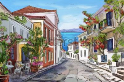 Quadro litoral ensolarado na Grécia. mãos pintadas.