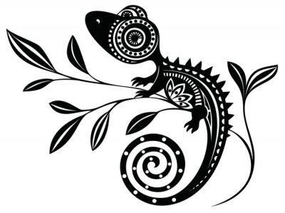 Quadro Lizard on a branch.pattern. Chameleon.tattoo.