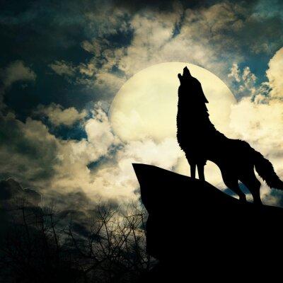 Quadro lobo em silhueta uivos à lua cheia
