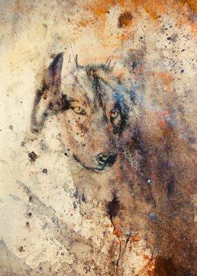 Quadro Lobo pintura, cor efeito abstrato no fundo