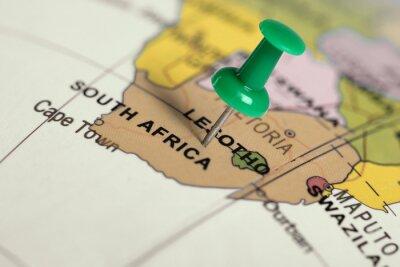 Quadro Localização África do Sul. Pin verde no mapa.