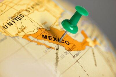 Quadro Localização México. Pin verde no mapa.