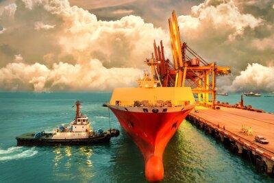 Quadro Logística e transporte do International Container Cargo ship com portos grua ponte no porto e céu noturno para logística de importação de fundo de exportação e indústria de transporte.