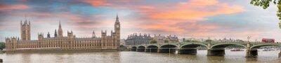 Quadro Londres ao anoitecer. Pôr do sol do outono sobre a ponte de Westminster