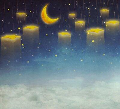 Quadro Lua, estrelas, corda, noturna, céu