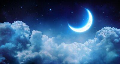 Quadro Lua romântica Em Noite Estrelada Sobre Nuvens