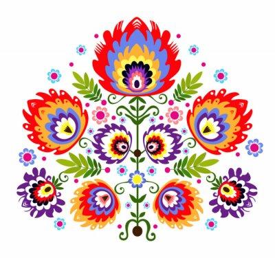 Quadro Ludowy wzór - kwiaty