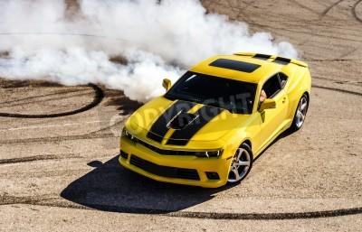 Quadro Luxo carro esporte amarelo deriva, captura de movimento