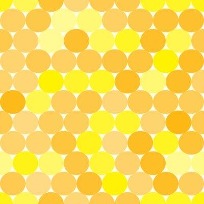 Quadro Macio Teste padrão sem emenda amarelo e laranja com círculos. Fundo geométrico abstrato monocromático.