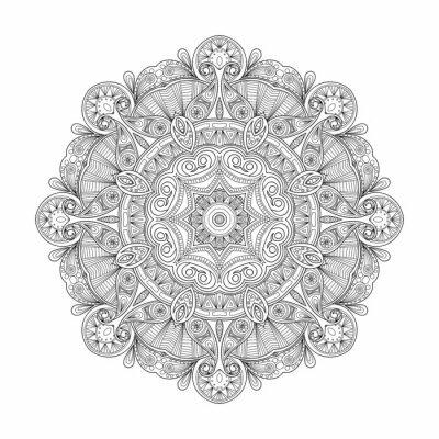 Quadro Mandala étnica circular abstrata preto e branco do teste padrão.