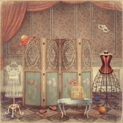 Quadro Manequim do vintage e uma tela no quarto, elegante e femini