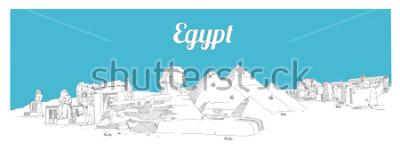 Quadro Mão de Egipto, desenho de ilustração de desenho panorâmico