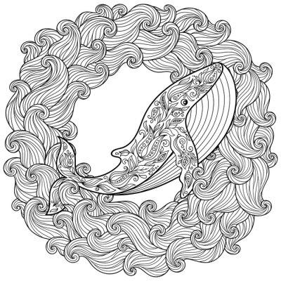Quadro Mão desenhada baleia nas ondas para antistress Página para colorir
