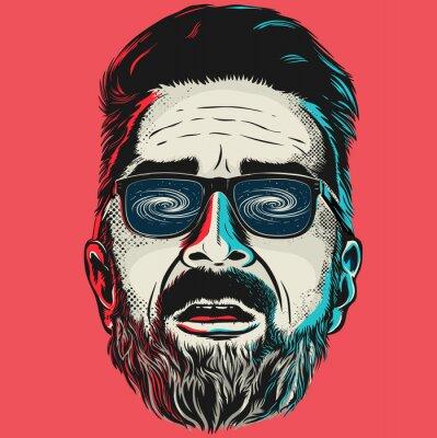 Quadro Mão desenhada vector face de um homem moderno com óculos.