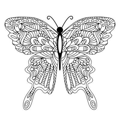 Quadro Mão, desenhado, doodle, borboleta