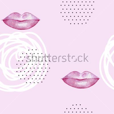 Quadro Mão-extraídas aquarela rosa lábios. Resumo padrão sem alteração.
