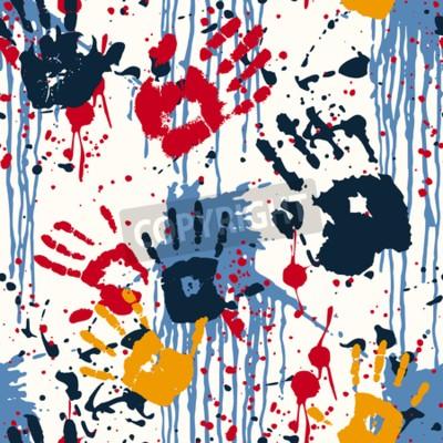 Quadro Mão imprime e borrões, padrão abstrato vetor sem costura
