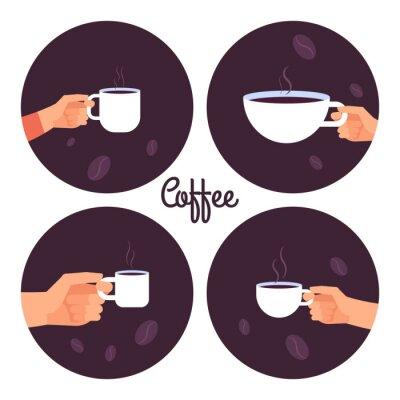 Quadro Mãos segurando xícaras de café vector conjunto de ícones isolado na ilustração de fundo branco