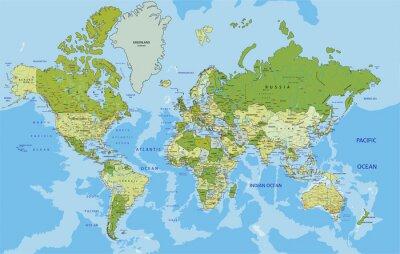 Quadro Mapa altamente detalhado do mundo político com rotulagem.