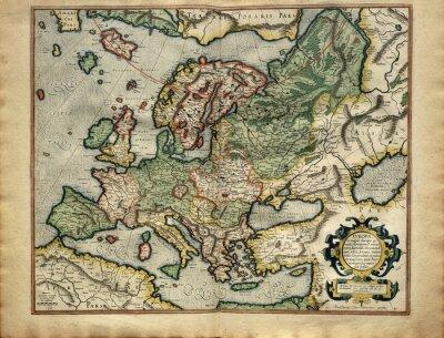 Quadro Mapa antigo da Europa, impresso em 1587 por Mercator