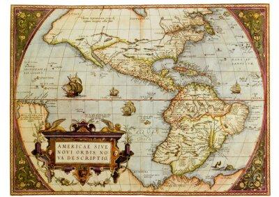 Quadro Mapa antigo das Américas. Foto de reprodução antiga