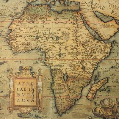 Quadro Mapa antigo do mapa de África pelo cartógrafo holandês Abraham Ortelius