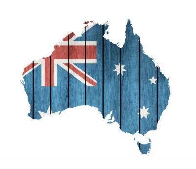 Quadro Mapa australiano com a bandeira de madeira