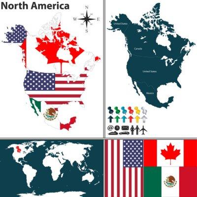 Quadro Mapa da América do Norte