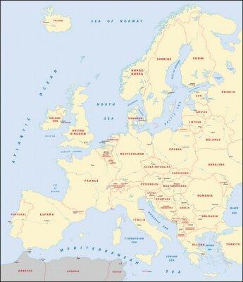 Quadro mapa da Europa
