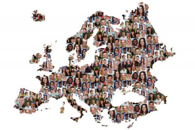 Quadro Mapa da Europa jovens multiculture integração grupo humano