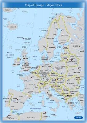 Quadro Mapa da Europa - Principais Cidades